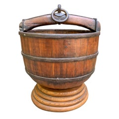 19th Century Chinese Water Bucket on Stand