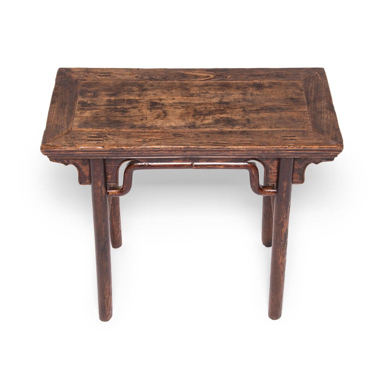 Elm 19th Century Chinese Wine Table with Humpback Stretchers For Sale