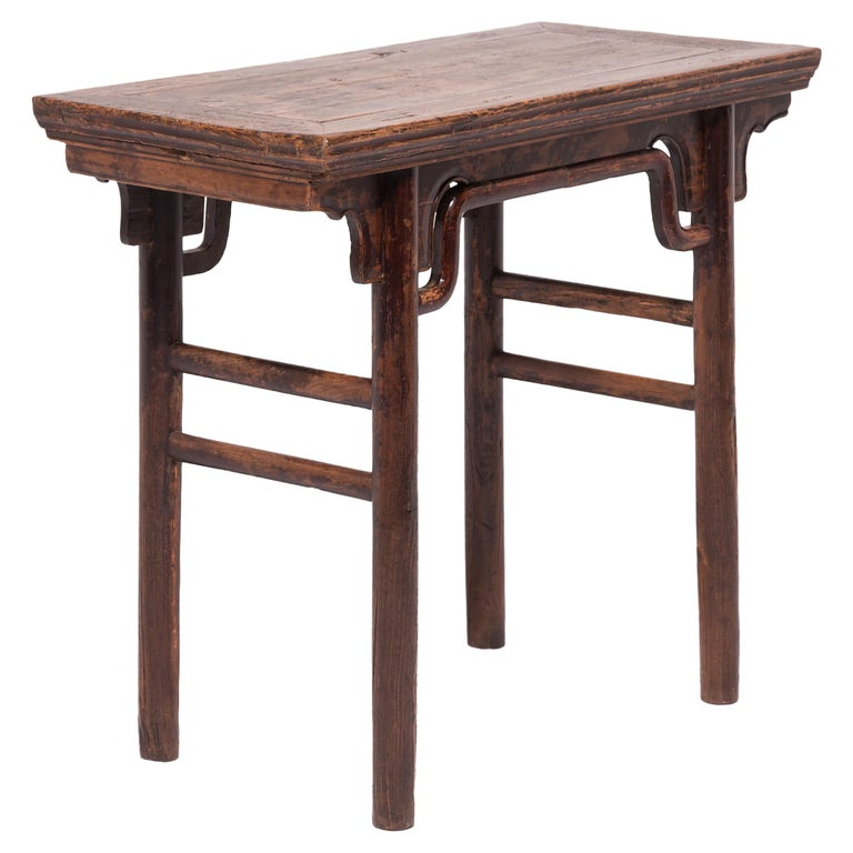 19th Century Chinese Wine Table with Humpback Stretchers For Sale