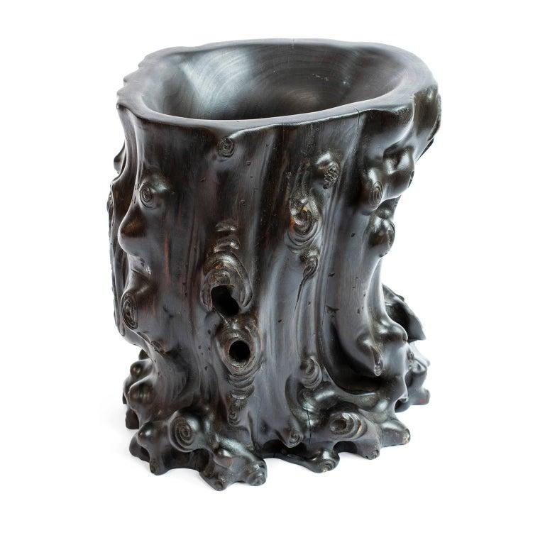 19th Century Chinese Zitan Brush Pot