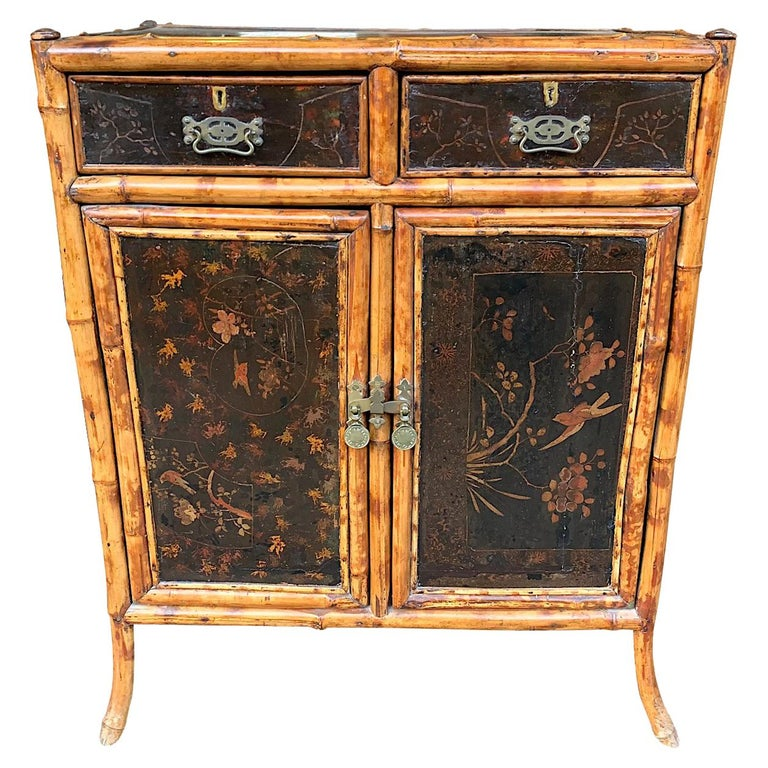19th Century Chinoiserie Painted Bamboo Cabinet with Two Drawers and Two Doors For Sale