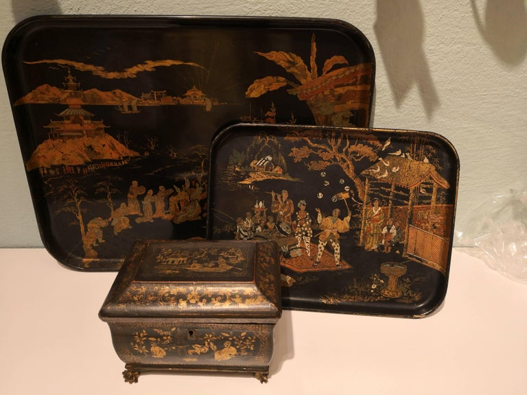 Wood 19th Century Chinoiserie Tray Black with Gold Details For Sale