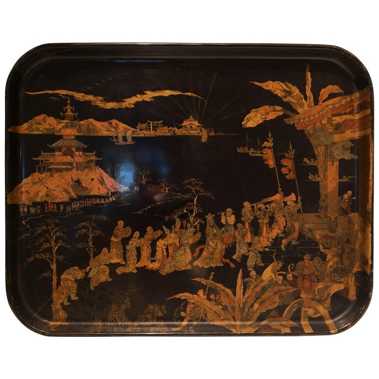 19th Century Chinoiserie Tray Black with Gold Details For Sale