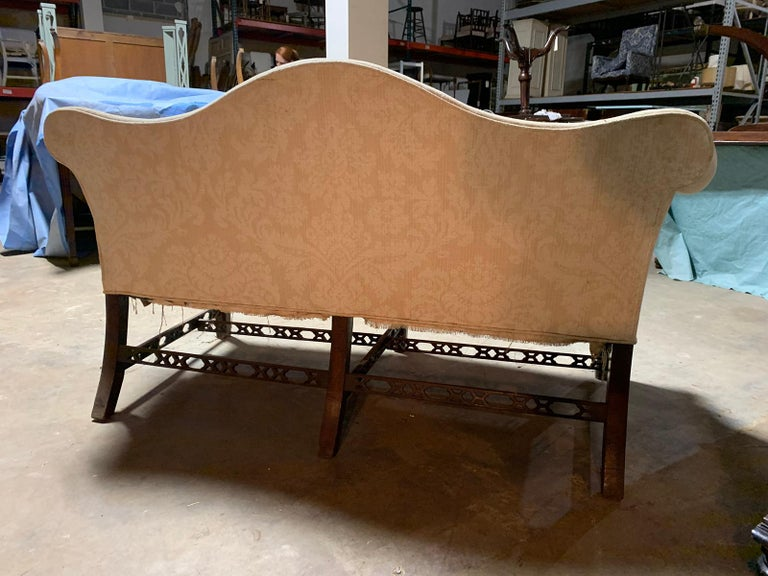 19th Century Chippendale Style Blind/Open Fretwork Small Sofa For Sale 10