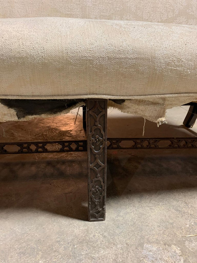 19th Century Chippendale Style Blind/Open Fretwork Small Sofa For Sale 3