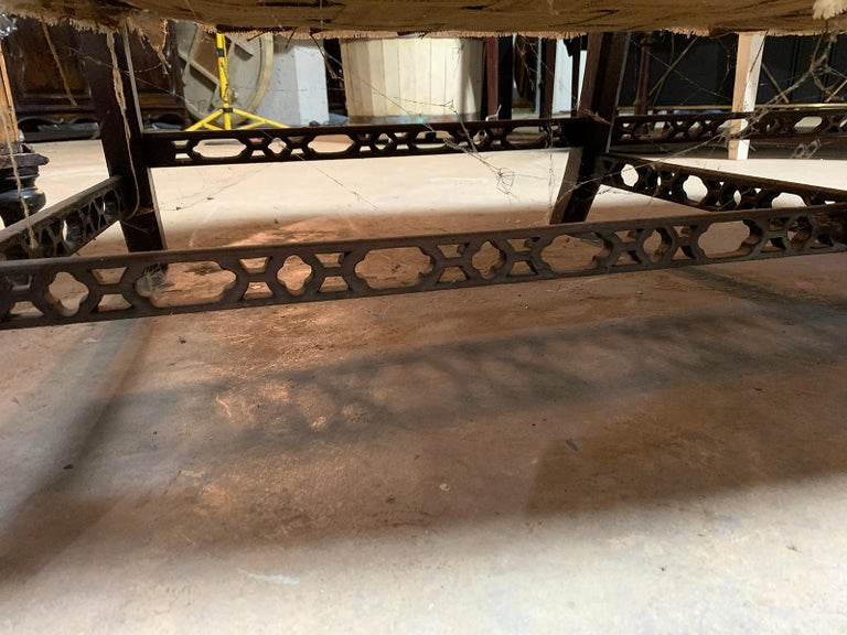 19th Century Chippendale Style Blind/Open Fretwork Small Sofa For Sale 4