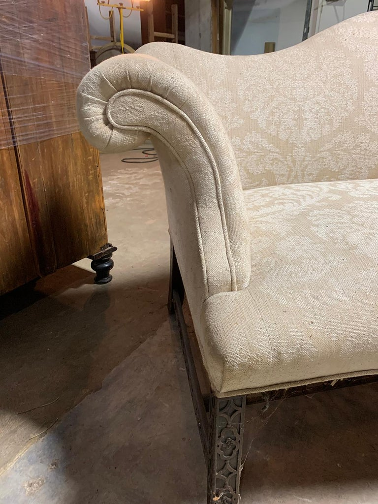 19th Century Chippendale Style Blind/Open Fretwork Small Sofa For Sale 5