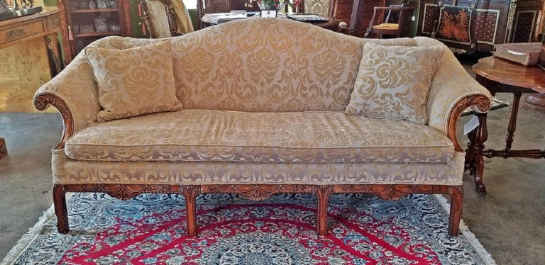 19th Century Chippendale Style Camel Back Sofa For Sale 4