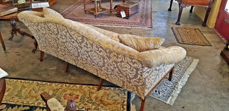 Regency 19th Century Chippendale Style Camel Back Sofa For Sale