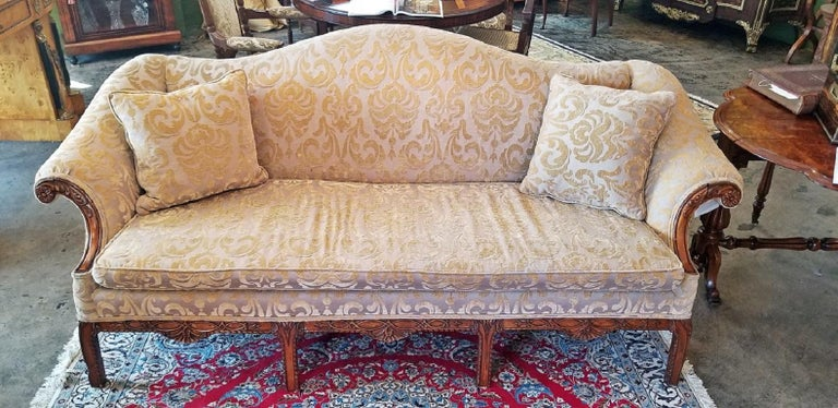 American 19th Century Chippendale Style Camel Back Sofa For Sale