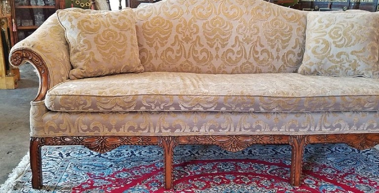 Walnut 19th Century Chippendale Style Camel Back Sofa For Sale
