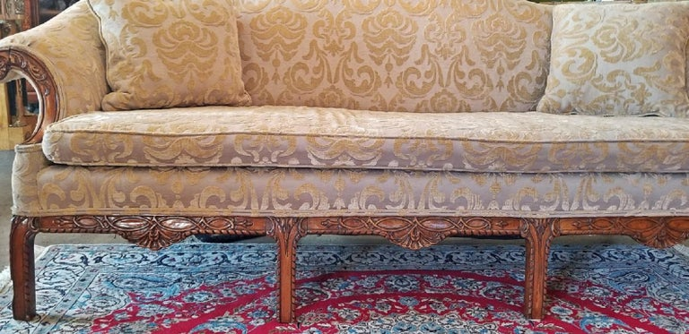 19th Century Chippendale Style Camel Back Sofa For Sale 1