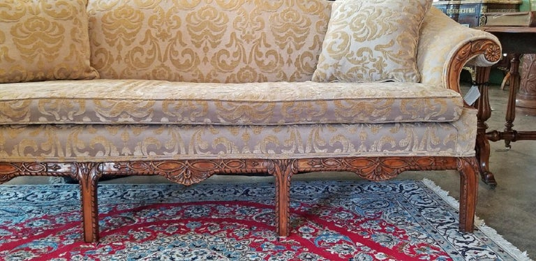 19th Century Chippendale Style Camel Back Sofa For Sale 2