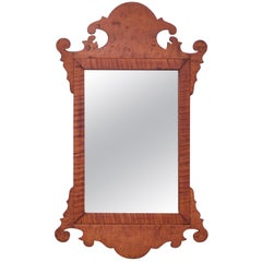 19th Century Chippendale Style Vanity / Shave Mirror in Burled-Walnut