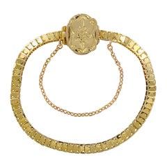 19th Century Chiseled Clasp 18 Karat Yellow Gold Bracelet