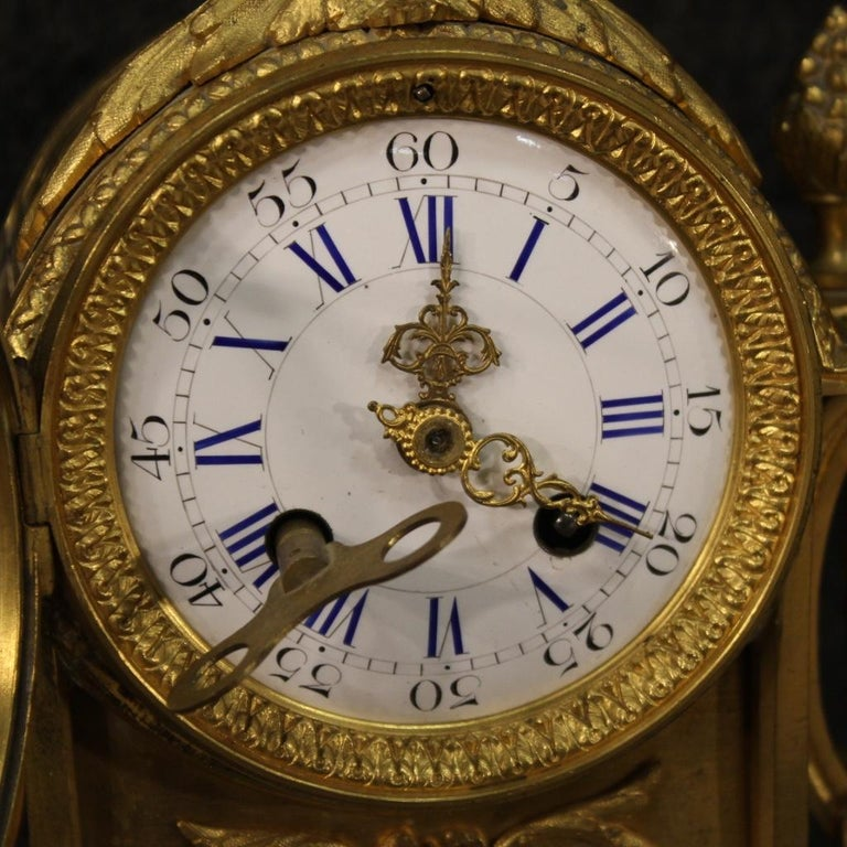 19th Century Chiseled, Gilded Bronze and Brass and Ceramic Italian Clock, 1870 For Sale 6