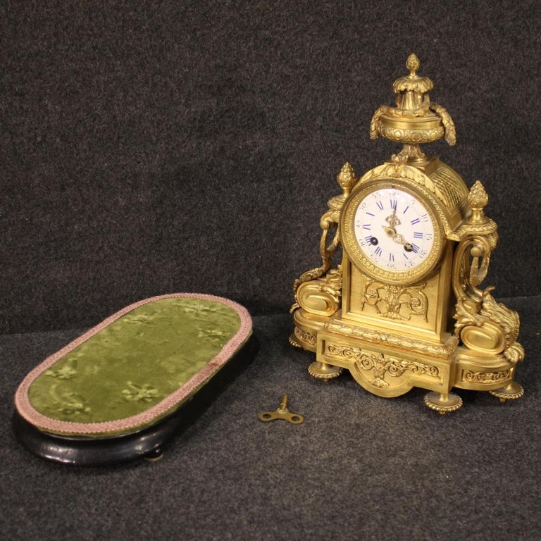 19th Century Chiseled, Gilded Bronze and Brass and Ceramic Italian Clock, 1870 For Sale 7