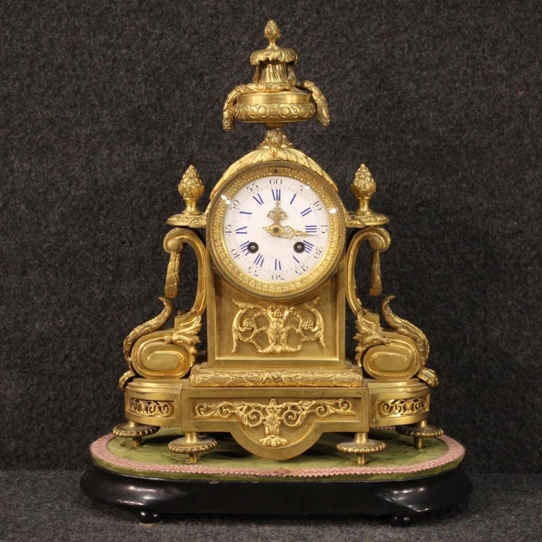 Gilt 19th Century Chiseled, Gilded Bronze and Brass and Ceramic Italian Clock, 1870 For Sale