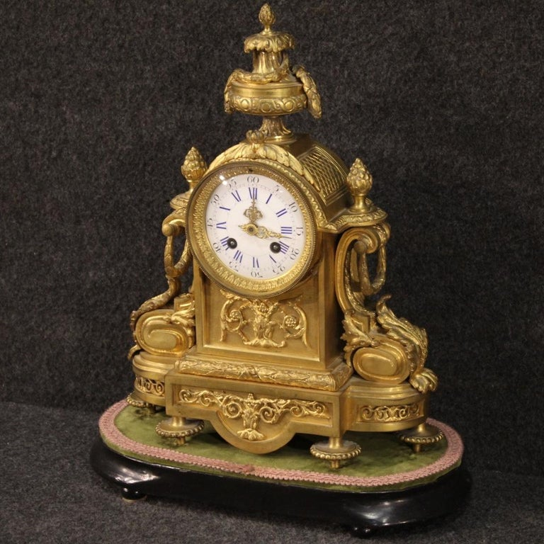 Late 19th Century 19th Century Chiseled, Gilded Bronze and Brass and Ceramic Italian Clock, 1870 For Sale