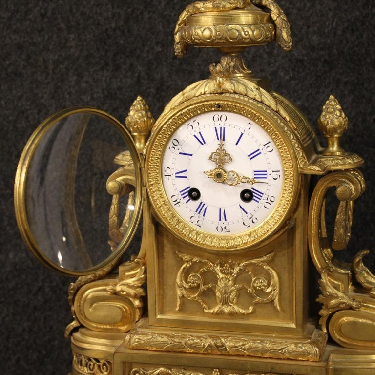 19th Century Chiseled, Gilded Bronze and Brass and Ceramic Italian Clock, 1870 For Sale 1