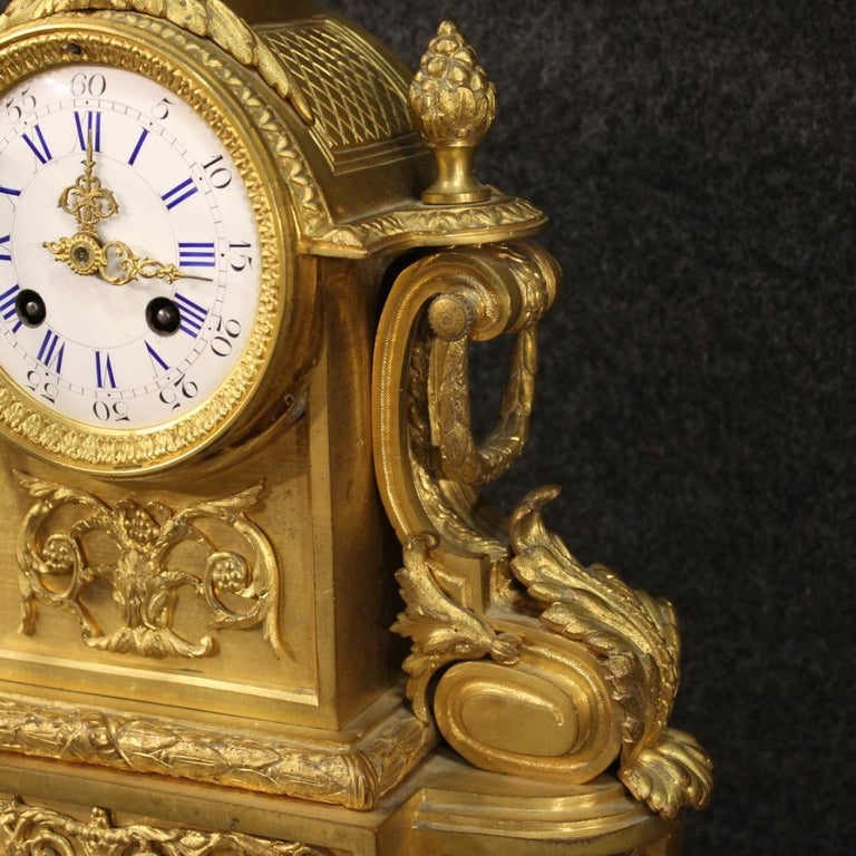 19th Century Chiseled, Gilded Bronze and Brass and Ceramic Italian Clock, 1870 For Sale 2