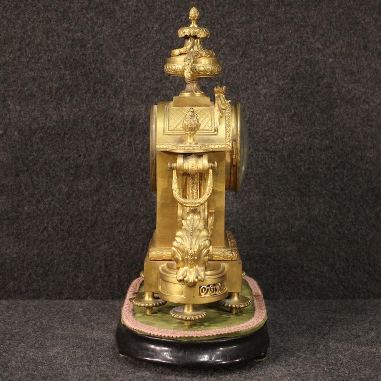 19th Century Chiseled, Gilded Bronze and Brass and Ceramic Italian Clock, 1870 For Sale 3