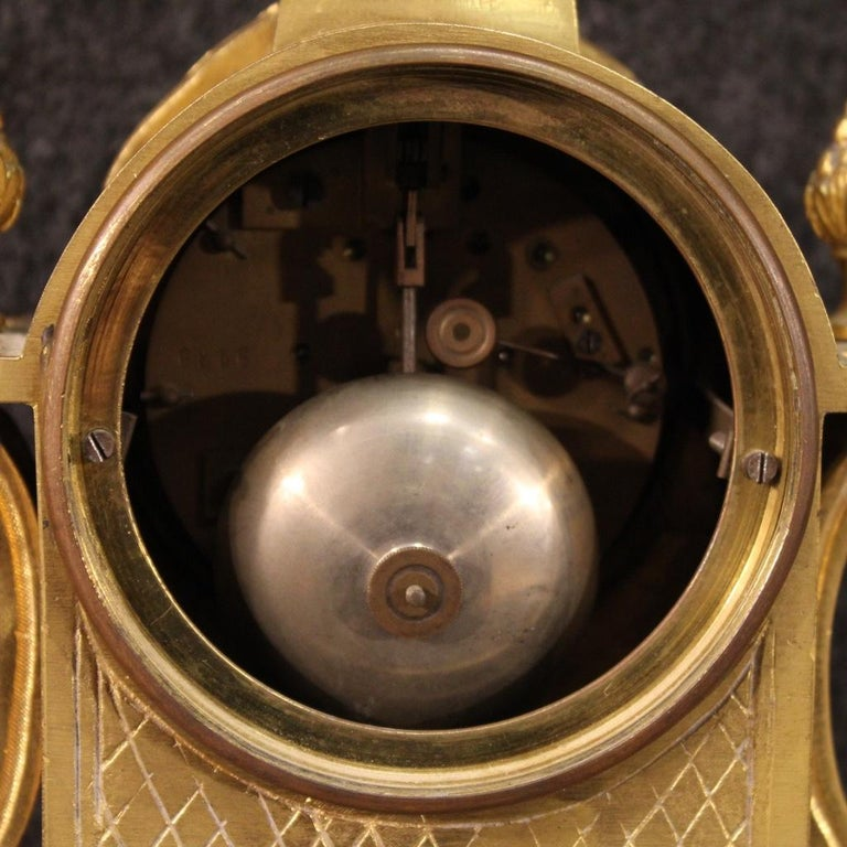 19th Century Chiseled, Gilded Bronze and Brass and Ceramic Italian Clock, 1870 For Sale 4