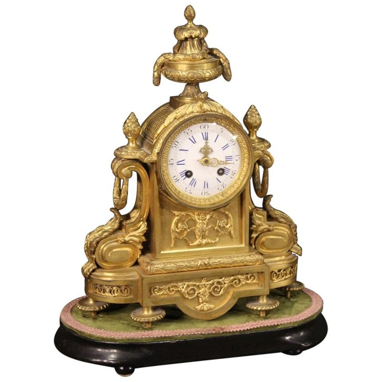 19th Century Chiseled, Gilded Bronze and Brass and Ceramic Italian Clock, 1870 For Sale