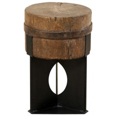 19th Century Chopping Block Top Custom Drinks Top with Iron Base