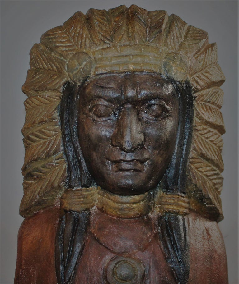 Country 19th Century Cigar Store Indian Hand Carved and Painted For Sale