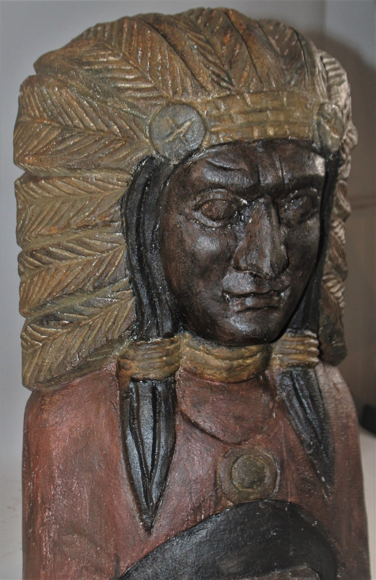American 19th Century Cigar Store Indian Hand Carved and Painted For Sale