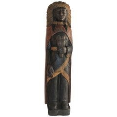 19th Century Cigar Store Indian Hand Carved and Painted