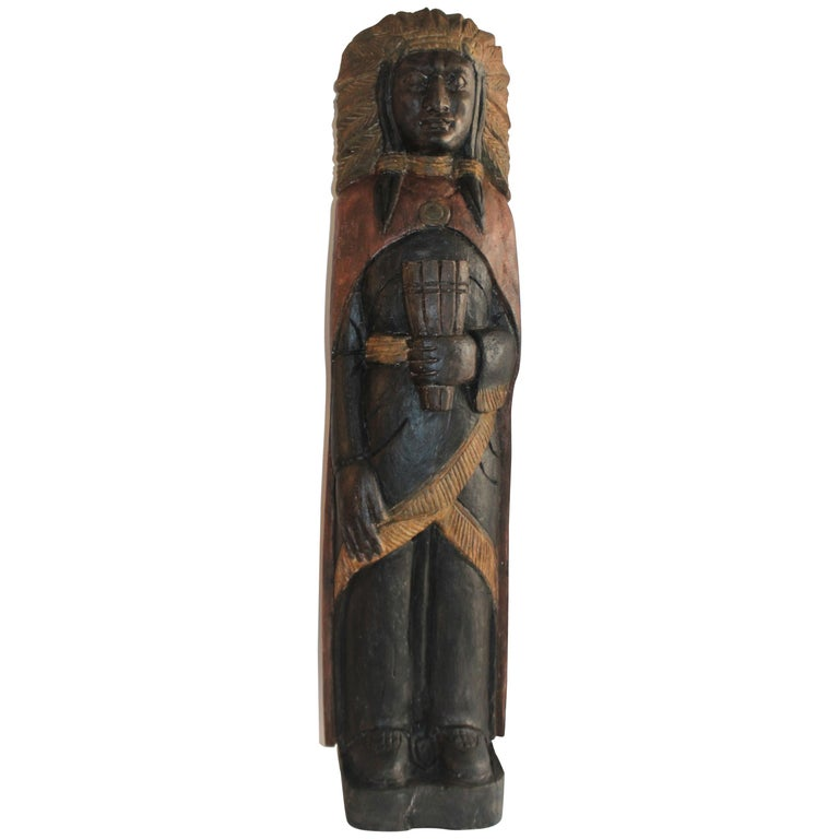 19th Century Cigar Store Indian Hand Carved and Painted For Sale