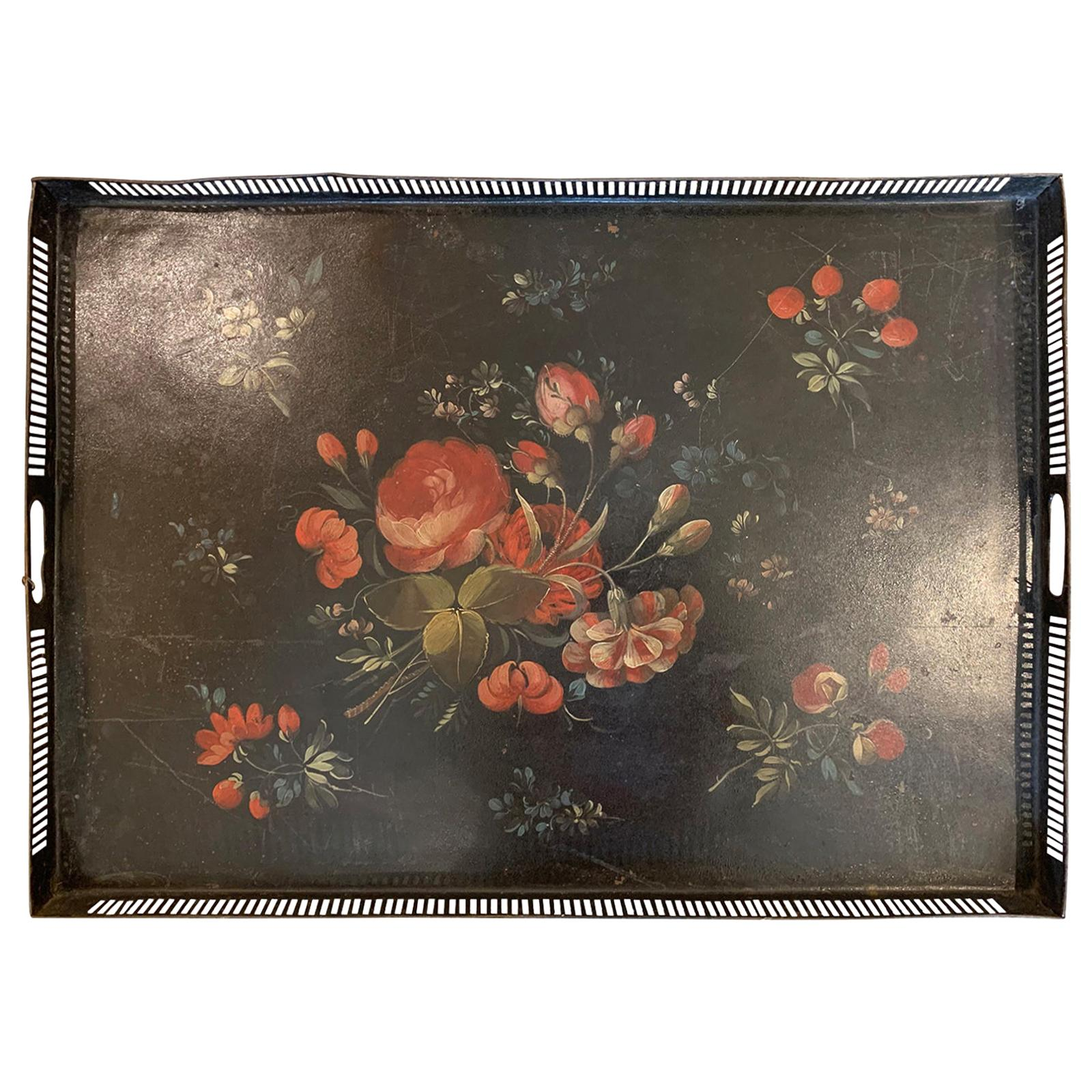 19th Century circa 1810 Painted Floral Tole Tray with Pierced Edge