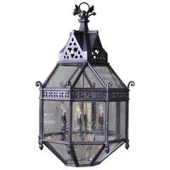 19th Century circa 1830 Regency Iron and Brass Octagonal Lantern Light