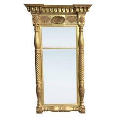19th Century circa 1840 American Empire Giltwood Pier Mirror, Acorn & Shell