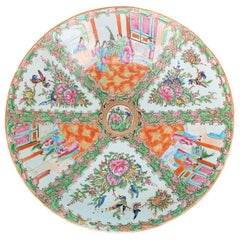 19th Century circa 1890 Chinese Export Rose Medallion Porcelain Charger, Marked