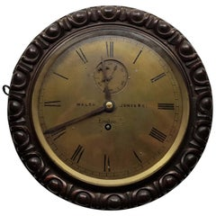 19th Century Circular Marine Oak Cased Wall Clock Walsh Jones & Co Melbourne