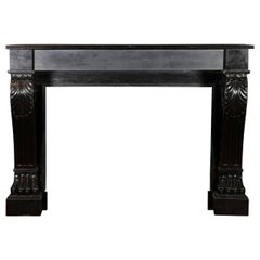 19th Century Classic Belgian Black Marble Antique Fireplace Surround