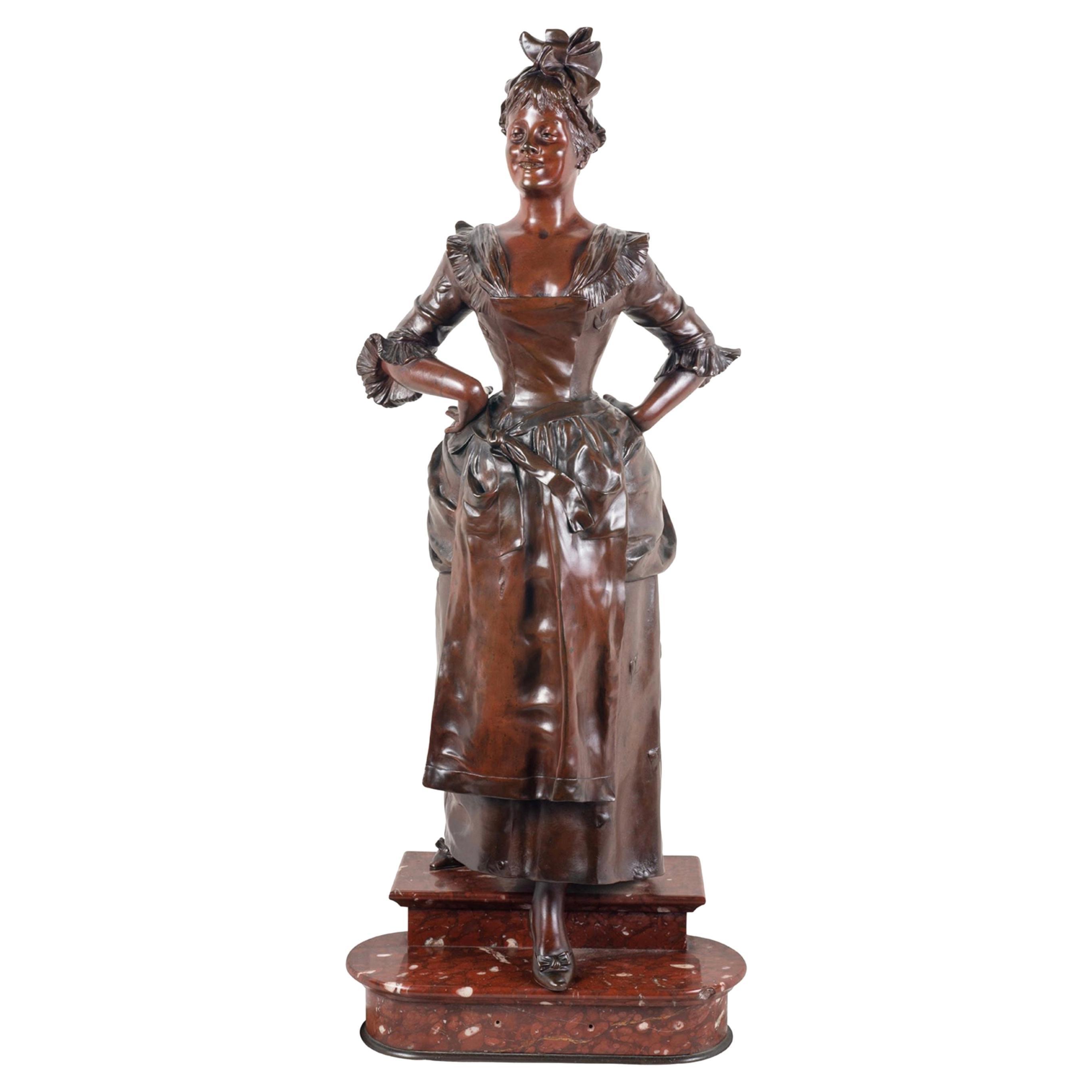 19th Century Classical Bronze Lady, by Van Der Straeten