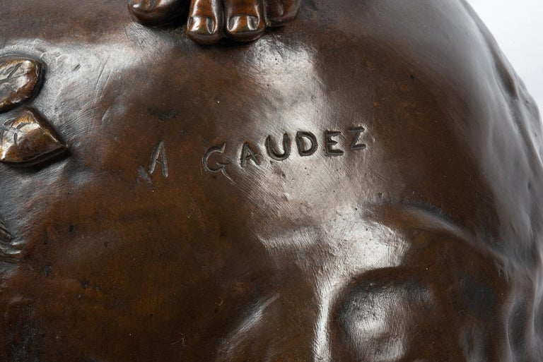 19th Century classical Bronze statue of an archer, by A. Gaudez For Sale 5