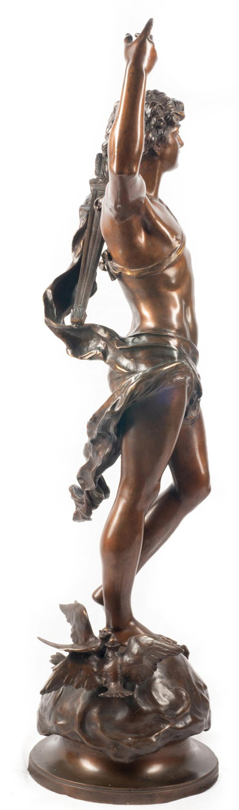 Classical Greek 19th Century classical Bronze statue of an archer, by A. Gaudez For Sale