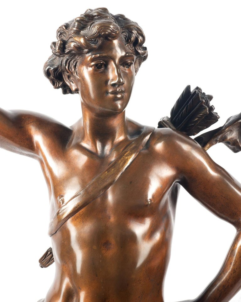 French 19th Century classical Bronze statue of an archer, by A. Gaudez For Sale