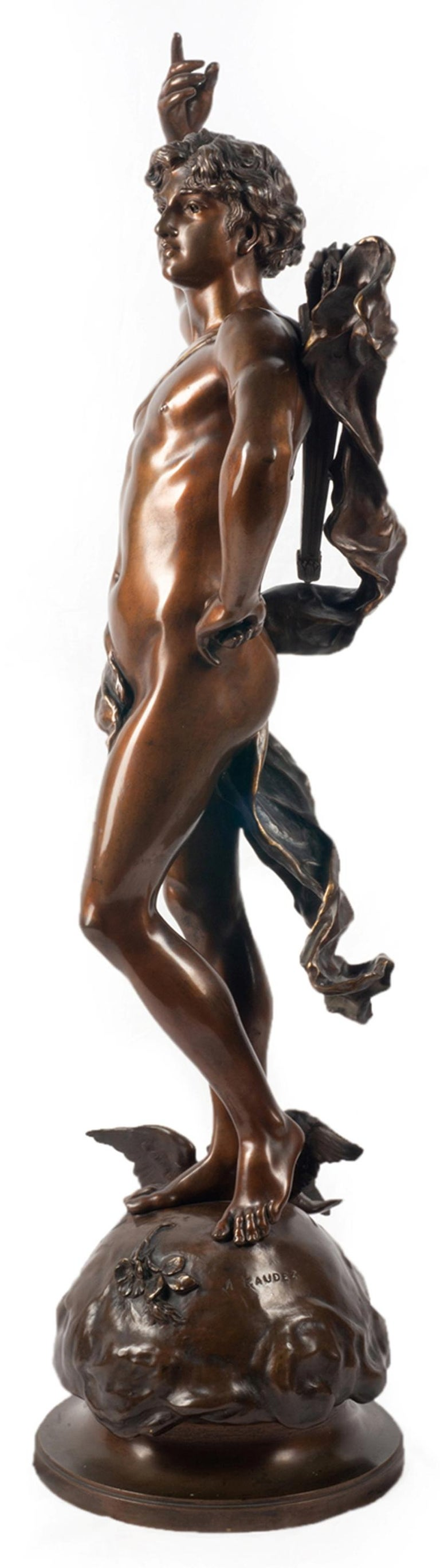 19th Century classical Bronze statue of an archer, by A. Gaudez In Good Condition For Sale In Brighton, Sussex
