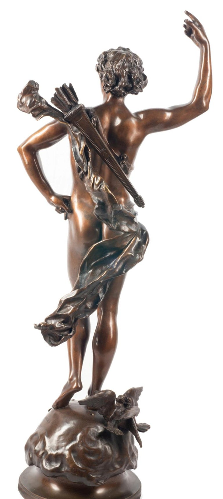 19th Century classical Bronze statue of an archer, by A. Gaudez For Sale 1