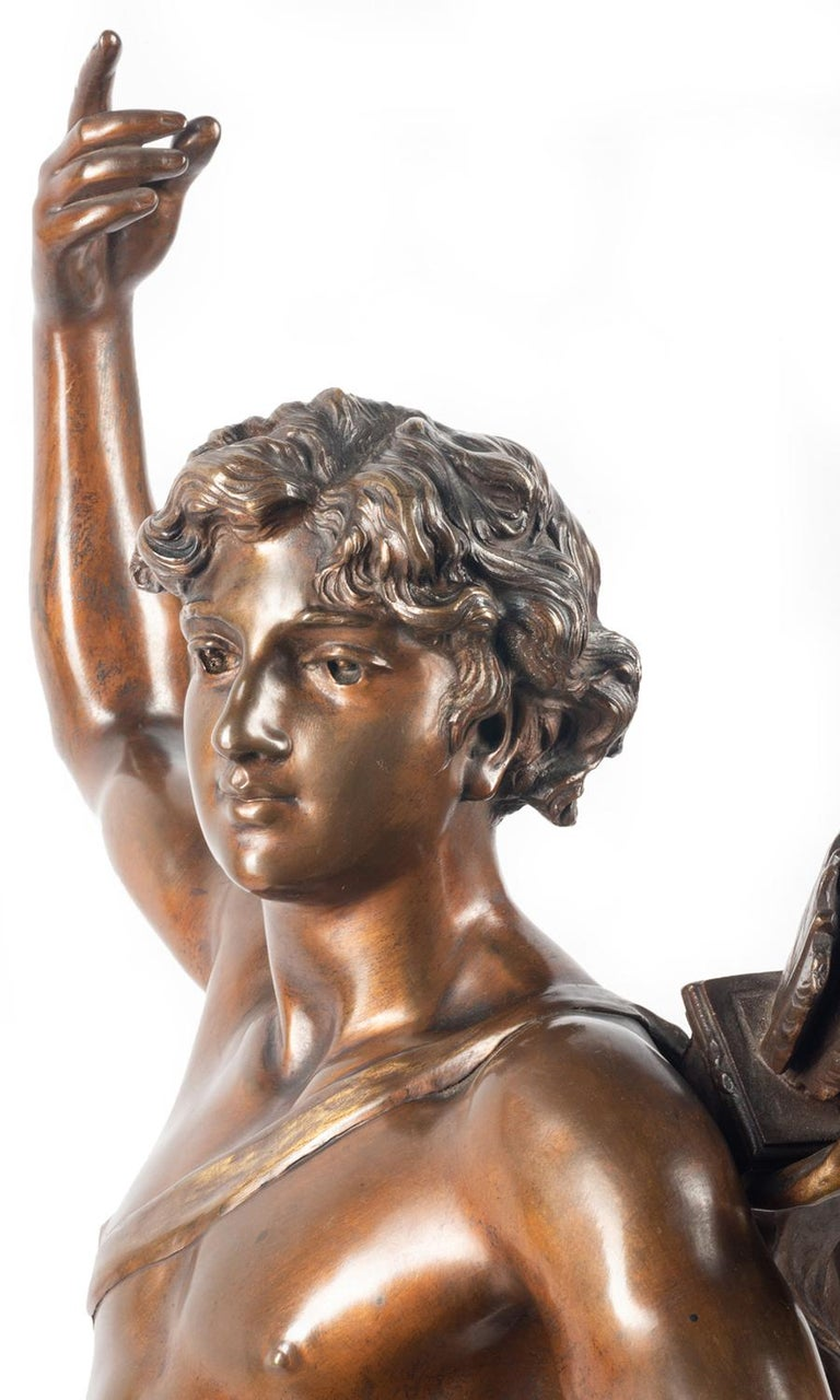 19th Century classical Bronze statue of an archer, by A. Gaudez For Sale 2