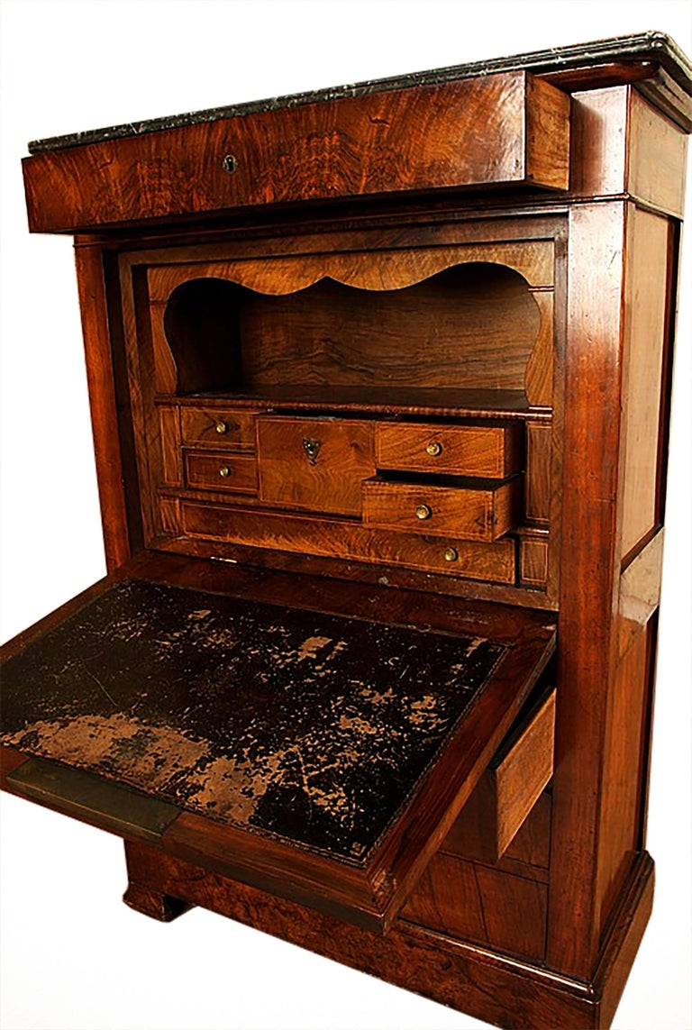 Walnut 19th Century Classical Charles X Burled Secretaire a Abattant For Sale