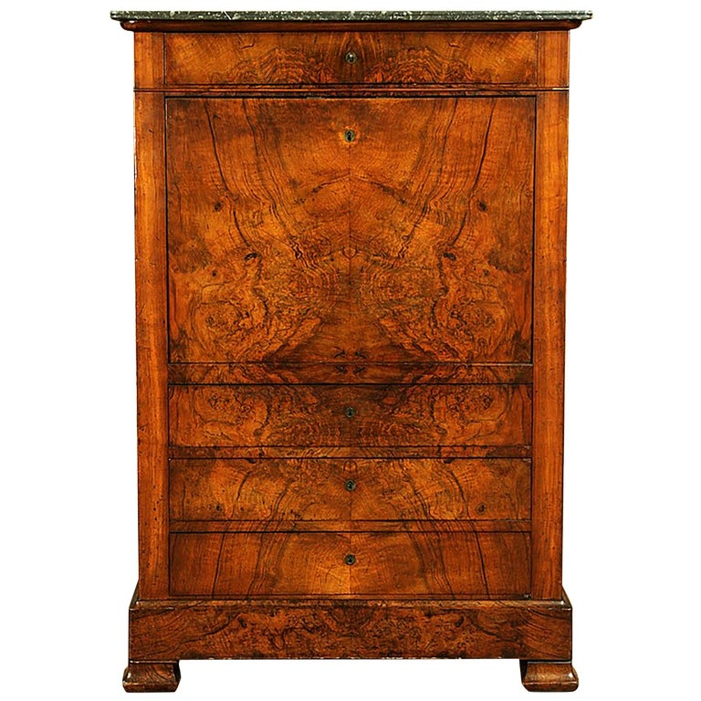 19th Century Classical Charles X Burled Secretaire a Abattant For Sale