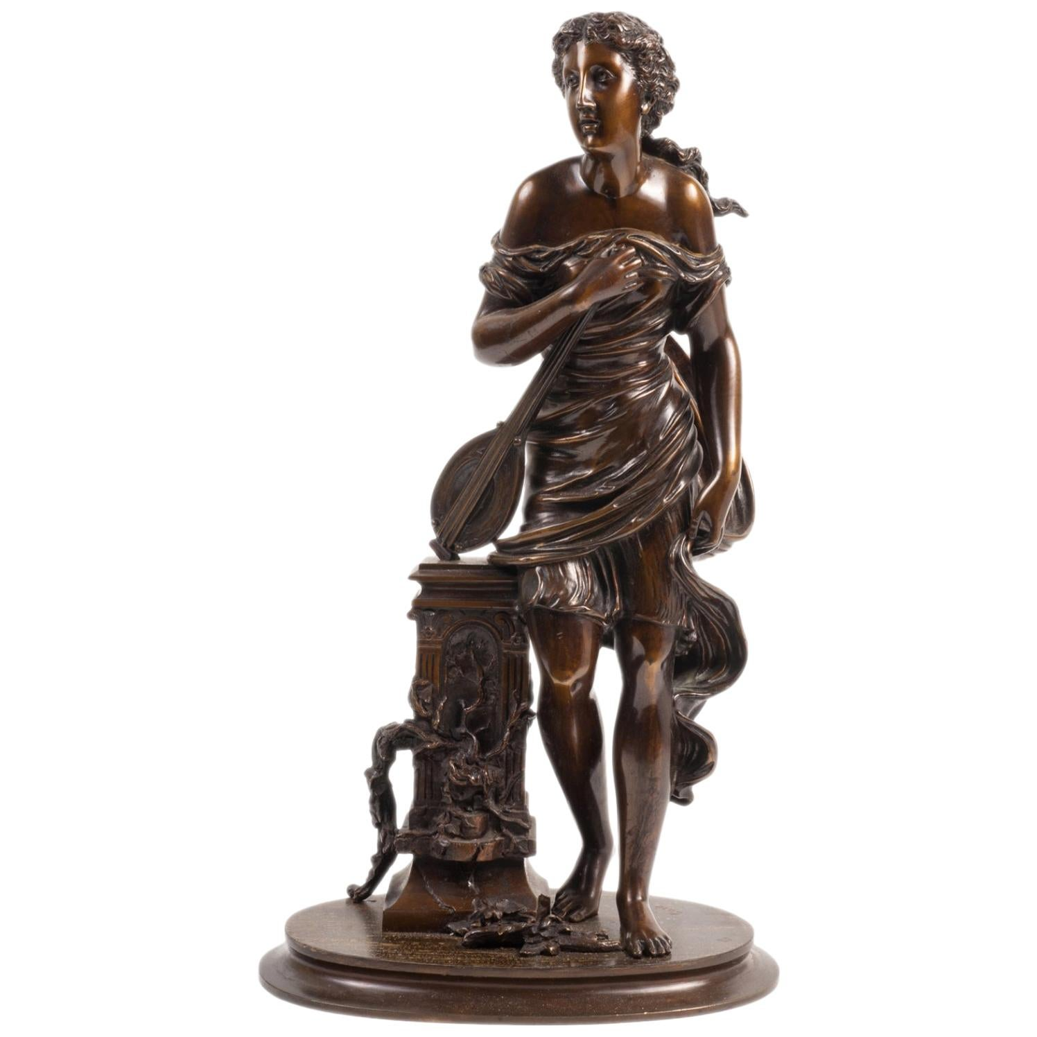 19th Century Classical Female Statue, Signed Carie