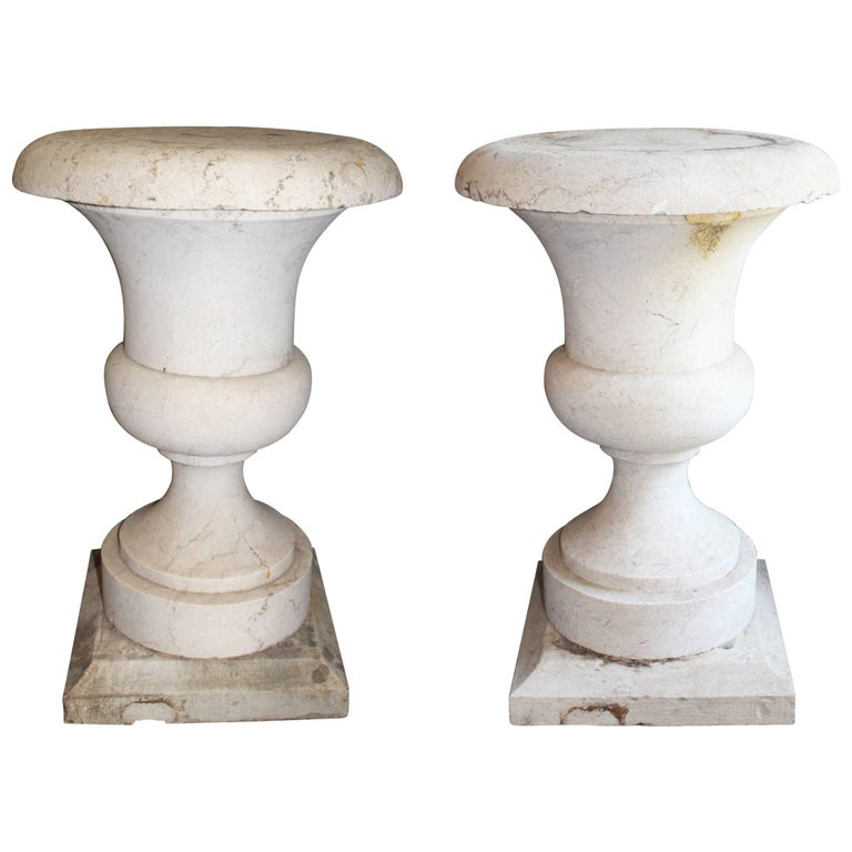 19th Century Classical Italian White Marble Planters For Sale